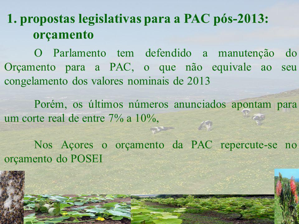 1. propostas legislativas para a PAC pós-2013: orçamento O Parlamento tem defendido a manutenção do Orçamento para a PAC, o que não equivale ao seu co
