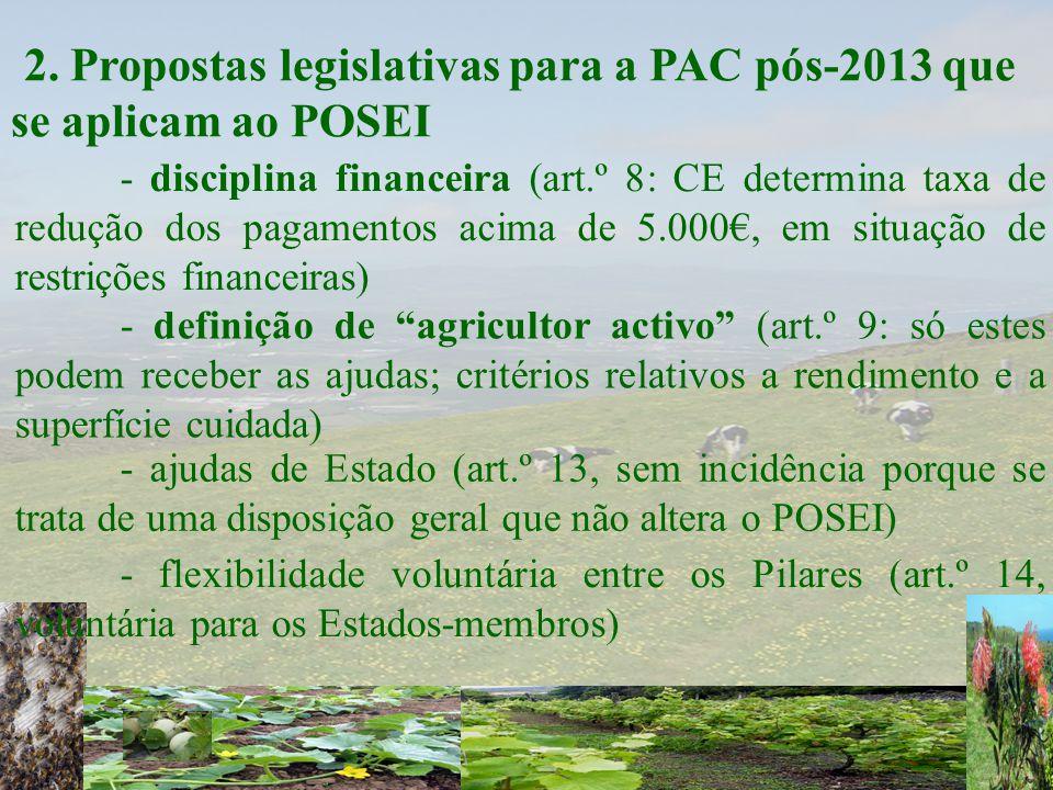 """2. Propostas legislativas para a PAC pós-2013 que se aplicam ao POSEI - definição de """"agricultor activo"""" (art.º 9: só estes podem receber as ajudas; c"""