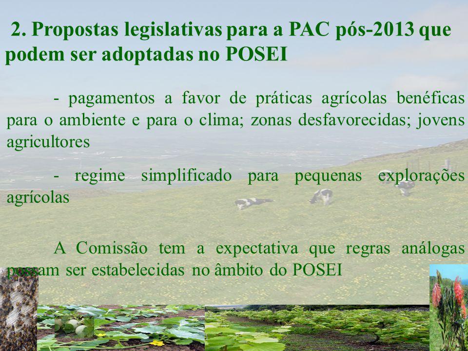 2. Propostas legislativas para a PAC pós-2013 que podem ser adoptadas no POSEI - regime simplificado para pequenas explorações agrícolas - pagamentos