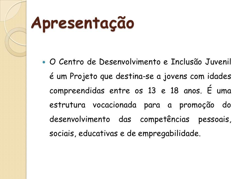 Apresentação O Centro de Desenvolvimento e Inclusão Juvenil é um Projeto que destina-se a jovens com idades compreendidas entre os 13 e 18 anos. É uma