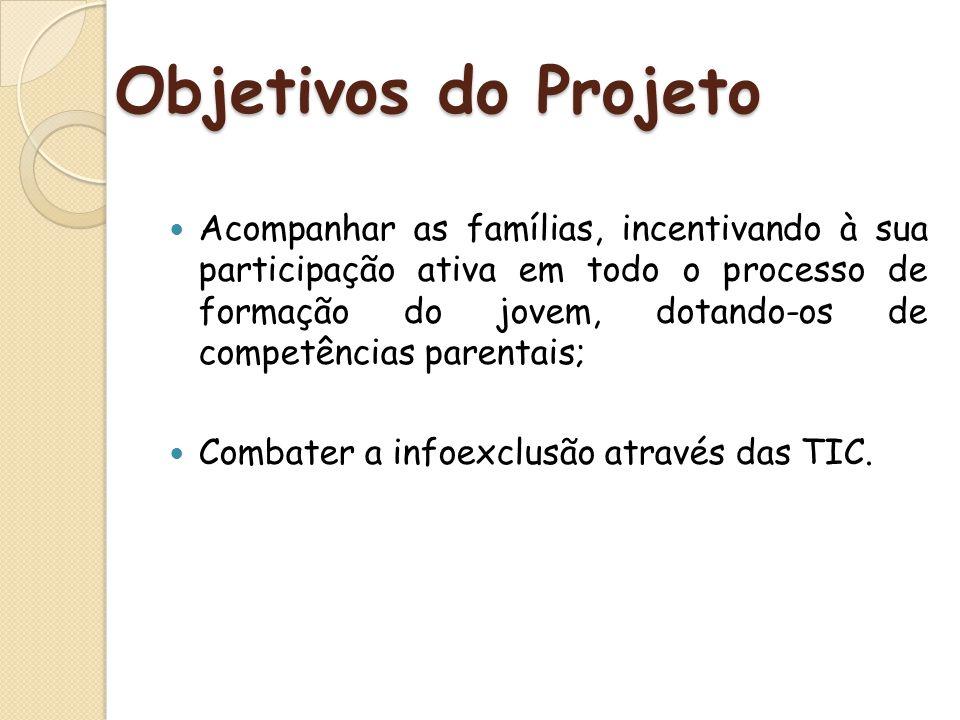 Objetivos do Projeto Acompanhar as famílias, incentivando à sua participação ativa em todo o processo de formação do jovem, dotando-os de competências
