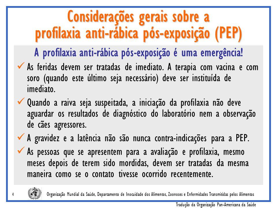 Organização Mundial da Saúde, Departamento de Inocuidade dos Alimentos, Zoonoses e Enfermidades Transmitidas pelos Alimentos Tradução da Organização Pan-Americana da Saúde 15 Regimes de PEP intradérmico para as vacinas modernas Método intradérmico dos 8 sítios ('8-0-4-0-1-8') Para uso com Vacina de células diplóides humanas (HDCV) (RabivacMR) e Vacina purificada de células de embrião de galinha (PCECV) (RabipurMR) Para ambas vacinas, use 0.1 ml intradérmico, por sítio