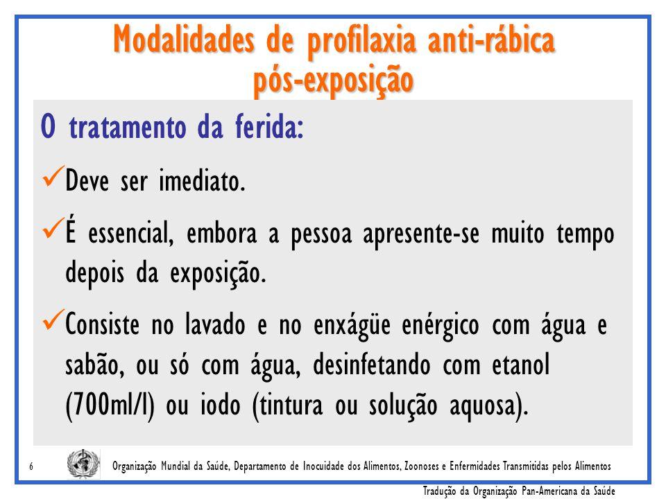 Organização Mundial da Saúde, Departamento de Inocuidade dos Alimentos, Zoonoses e Enfermidades Transmitidas pelos Alimentos Tradução da Organização Pan-Americana da Saúde 17 Requisitos de potência para a vacina anti-rábica usada nas profilaxias intradérmicas A potência antigênica de todas as vacinas aprovadas pela OMS é similar e está muito acima do valor mínimo de 2,5 UI/ampola; As autoridades nacionais não devem aumentar o requisito mínimo de potência da OMS para as vacinas anti-rábicas humanas para uso intradérmico mais além de 2.5 UI (por única dose intramuscular), a menos que a necessidade de uma mudança seja baseada em estudos clínicos ou de campo.