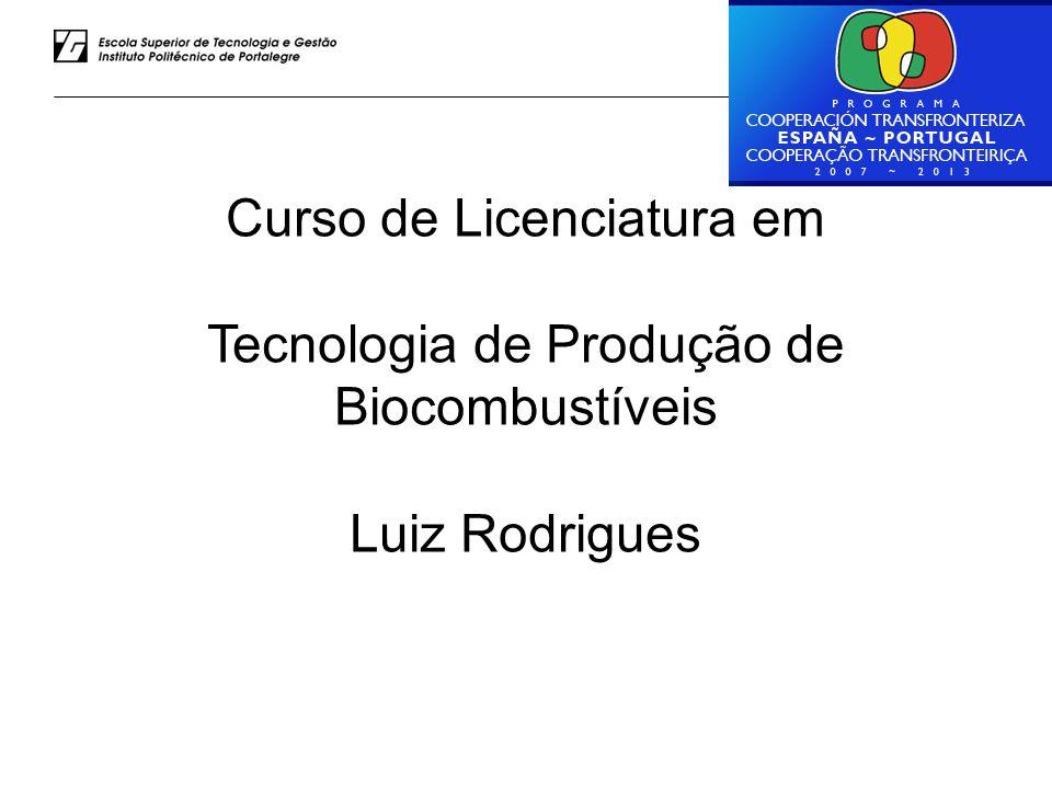 Luiz Rodrigues – ESTG do IPP Curso de Licenciatura em Tecnologia de Produção de Biocombustíveis Luiz Rodrigues