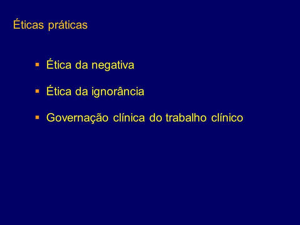 Éticas práticas  Ética da negativa  Ética da ignorância  Governação clínica do trabalho clínico
