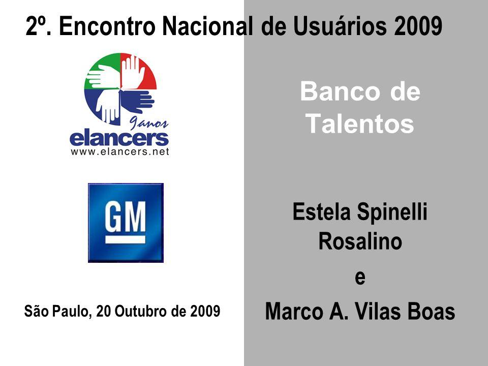 Banco de Talentos Estela Spinelli Rosalino e Marco A. Vilas Boas São Paulo, 20 Outubro de 2009 2º. Encontro Nacional de Usuários 2009