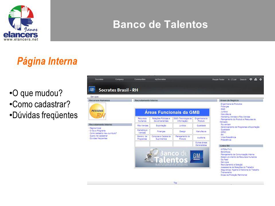 Banco de Talentos Página Interna O que mudou Como cadastrar Dúvidas freqüentes