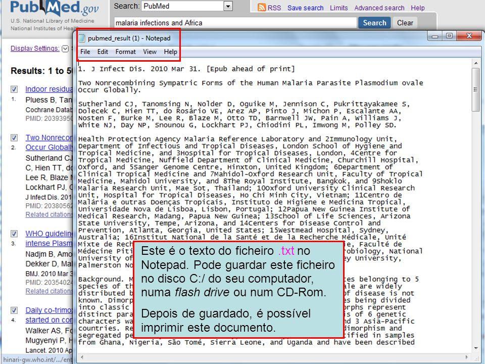 Este é o texto do ficheiro.txt no Notepad.