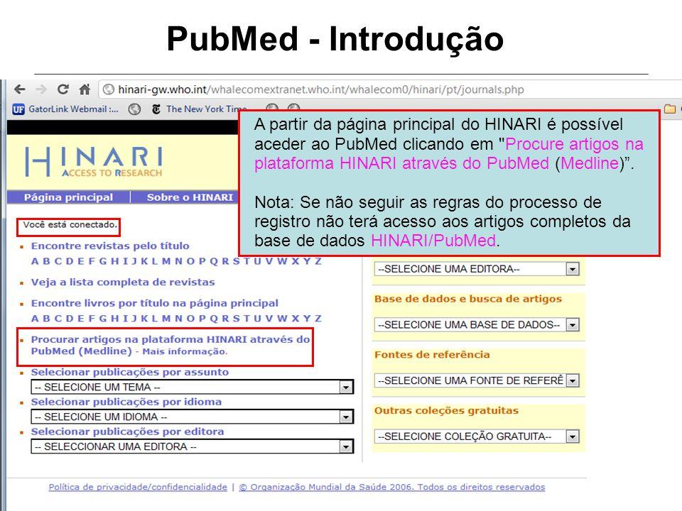 PubMed - Introdução A partir da página principal do HINARI é possível aceder ao PubMed clicando em Procure artigos na plataforma HINARI através do PubMed (Medline) .