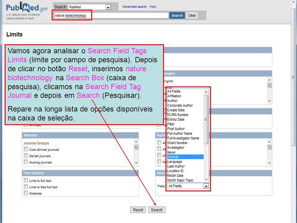Vamos agora analisar o Search Field Tags Limits (limite por campo de pesquisa).
