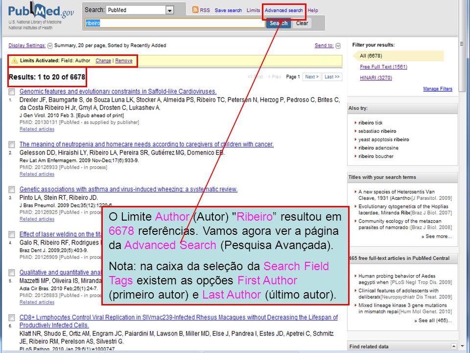 O Limite Author (Autor) Ribeiro resultou em 6678 referências.