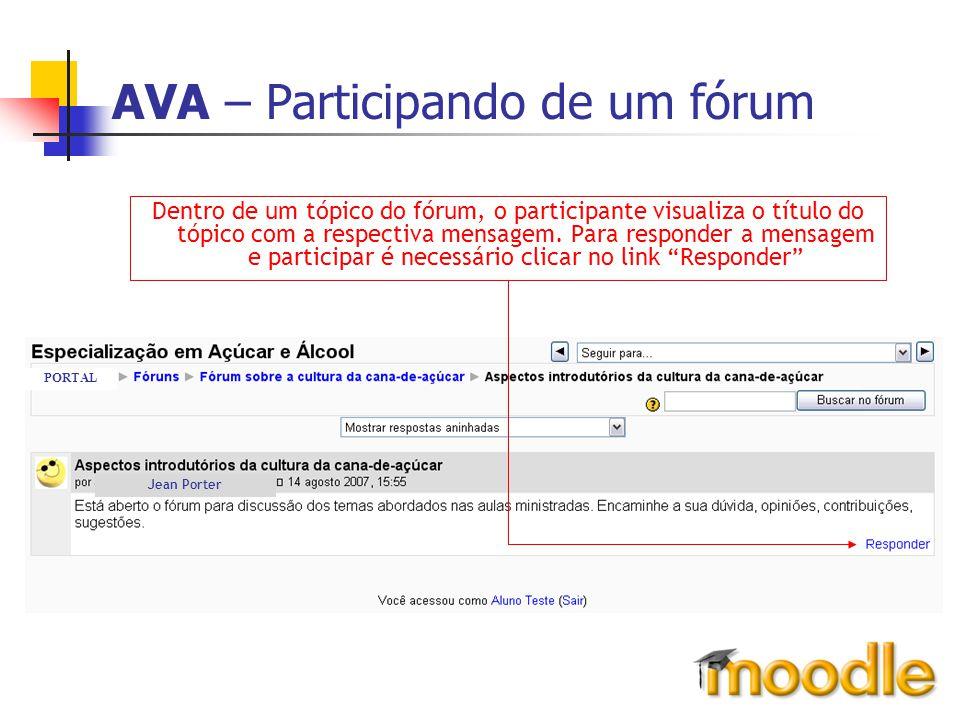 AVA – Participando de um fórum Dentro de um tópico do fórum, o participante visualiza o título do tópico com a respectiva mensagem. Para responder a m