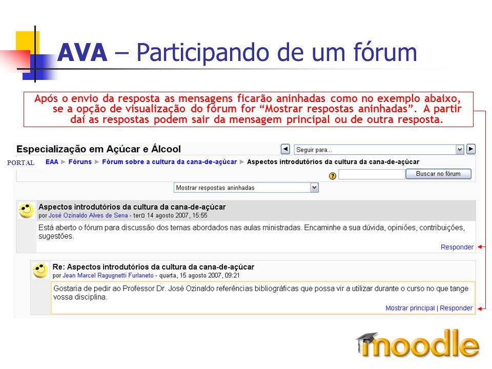 AVA – Participando de um fórum Após o envio da resposta as mensagens ficarão aninhadas como no exemplo abaixo, se a opção de visualização do fórum for