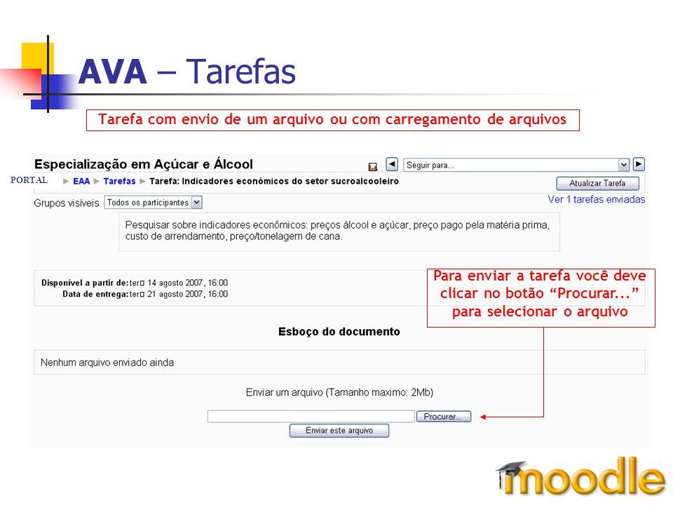 """AVA – Tarefas Tarefa com envio de um arquivo ou com carregamento de arquivos Para enviar a tarefa você deve clicar no botão """"Procurar..."""" para selecio"""