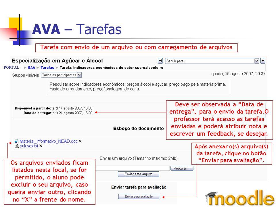 AVA – Tarefas Tarefa com envio de um arquivo ou com carregamento de arquivos Os arquivos enviados ficam listados nesta local, se for permitido, o alun