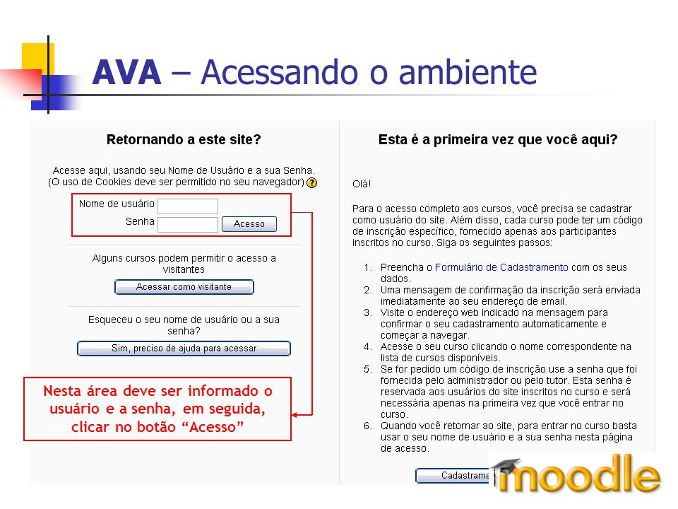 """AVA – Acessando o ambiente Nesta área deve ser informado o usuário e a senha, em seguida, clicar no botão """"Acesso"""""""