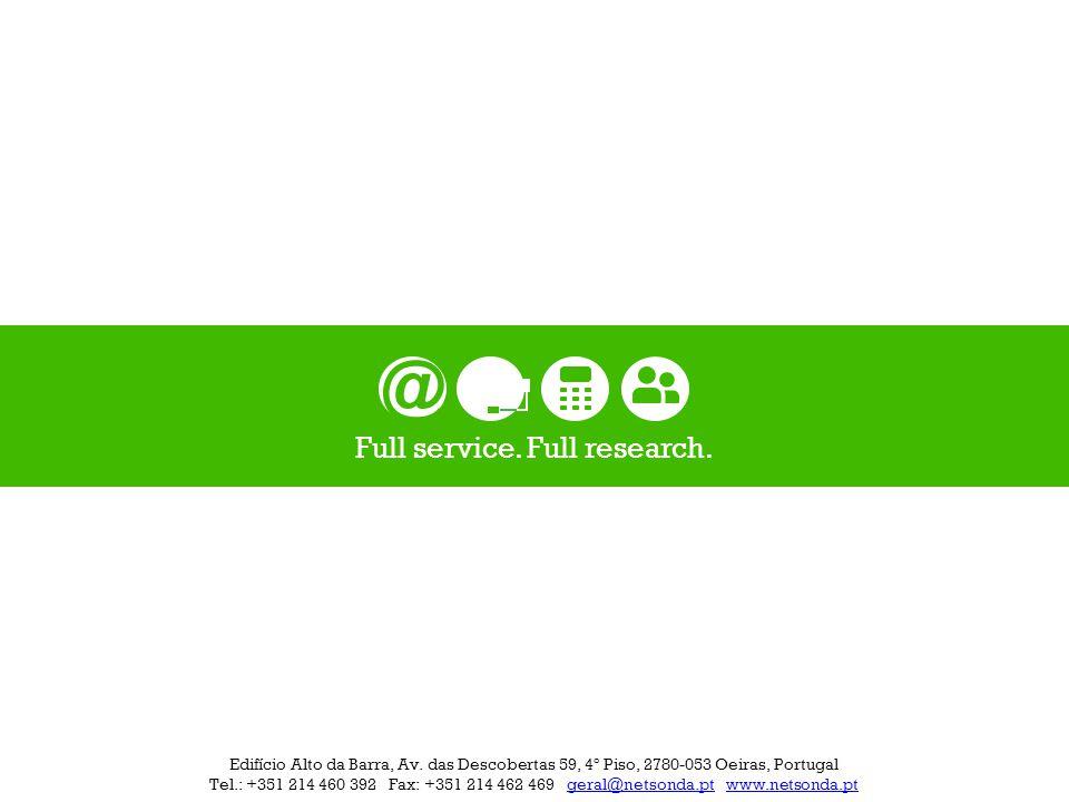 Full service. Full research. Edifício Alto da Barra, Av. das Descobertas 59, 4º Piso, 2780-053 Oeiras, Portugal Tel.: +351 214 460 392 Fax: +351 214 4
