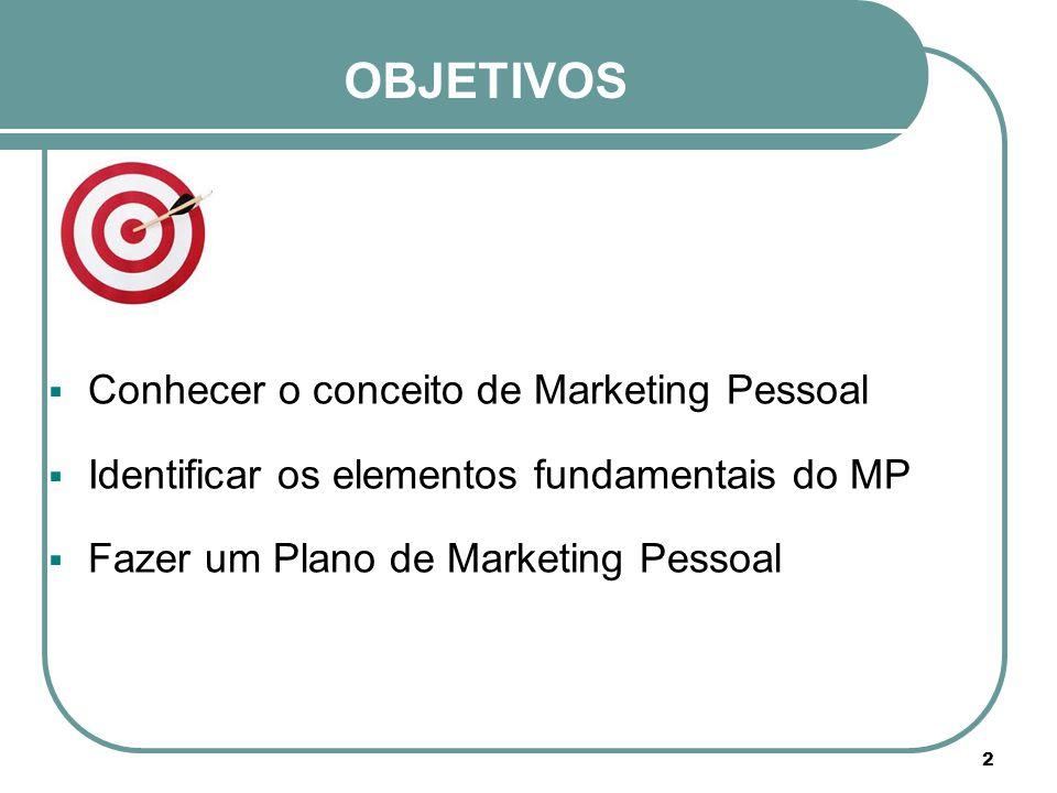 OBJETIVOS  Conhecer o conceito de Marketing Pessoal  Identificar os elementos fundamentais do MP  Fazer um Plano de Marketing Pessoal 2