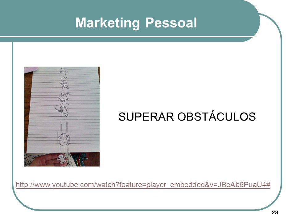 Marketing Pessoal http://www.youtube.com/watch?feature=player_embedded&v=JBeAb6PuaU4# SUPERAR OBSTÁCULOS 23