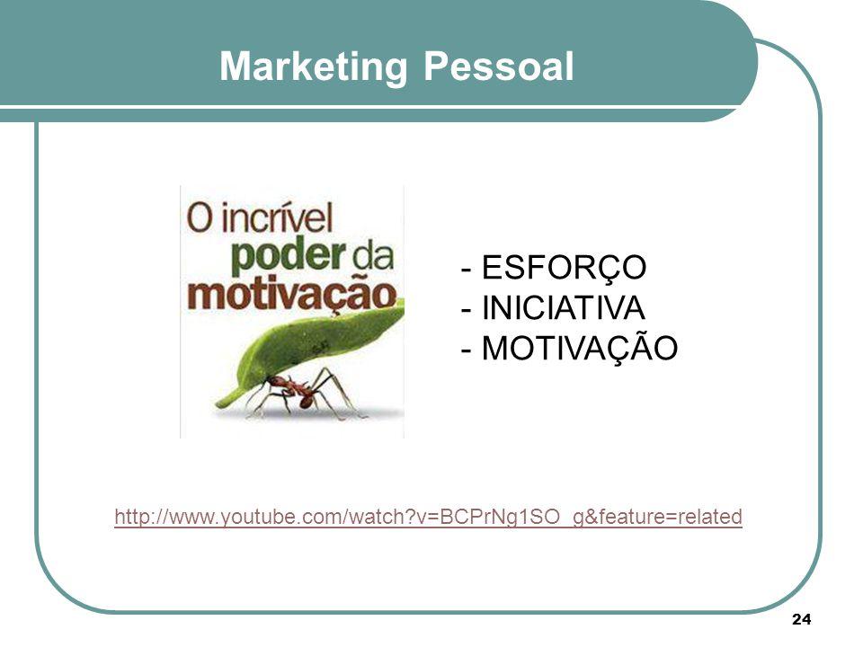 Marketing Pessoal - ESFORÇO - INICIATIVA - MOTIVAÇÃO http://www.youtube.com/watch?v=BCPrNg1SO_g&feature=related 24