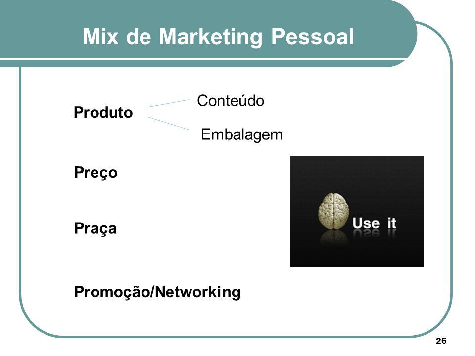 Mix de Marketing Pessoal Produto 26 Preço Praça Promoção/Networking Conteúdo Embalagem