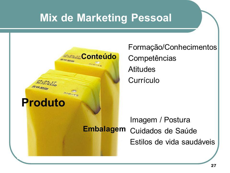Mix de Marketing Pessoal Produto 27 Conteúdo Embalagem Imagem / Postura Cuidados de Saúde Estilos de vida saudáveis Formação/Conhecimentos Competência