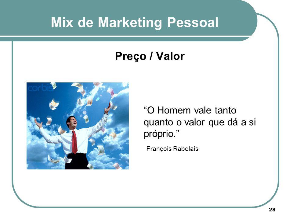 """Mix de Marketing Pessoal 28 Preço / Valor """"O Homem vale tanto quanto o valor que dá a si próprio."""" François Rabelais"""