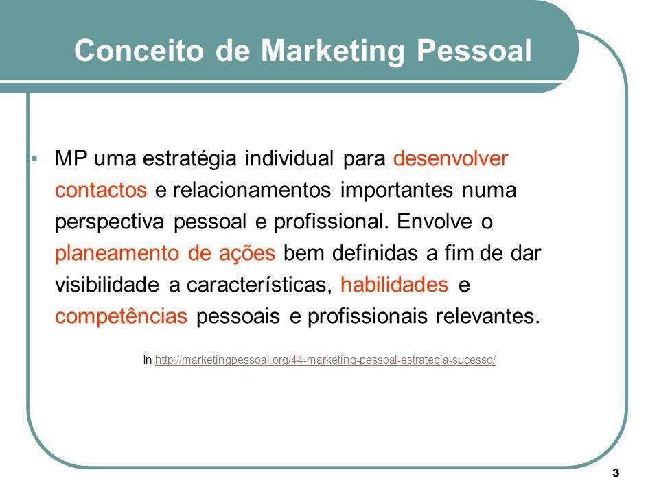 Conceito de Marketing Pessoal  MP uma estratégia individual para desenvolver contactos e relacionamentos importantes numa perspectiva pessoal e profi