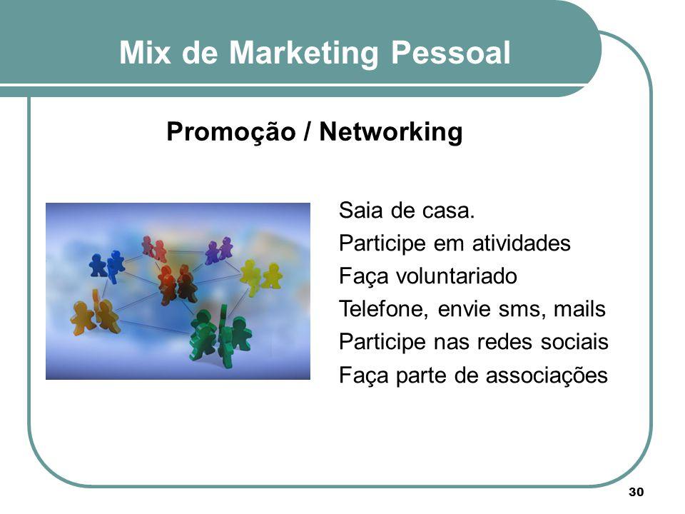 Mix de Marketing Pessoal 30 Promoção / Networking Saia de casa. Participe em atividades Faça voluntariado Telefone, envie sms, mails Participe nas red