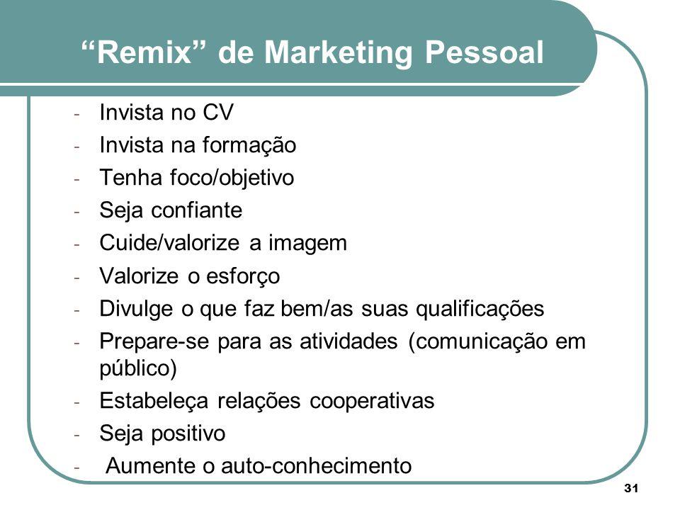 """""""Remix"""" de Marketing Pessoal - Invista no CV - Invista na formação - Tenha foco/objetivo - Seja confiante - Cuide/valorize a imagem - Valorize o esfor"""