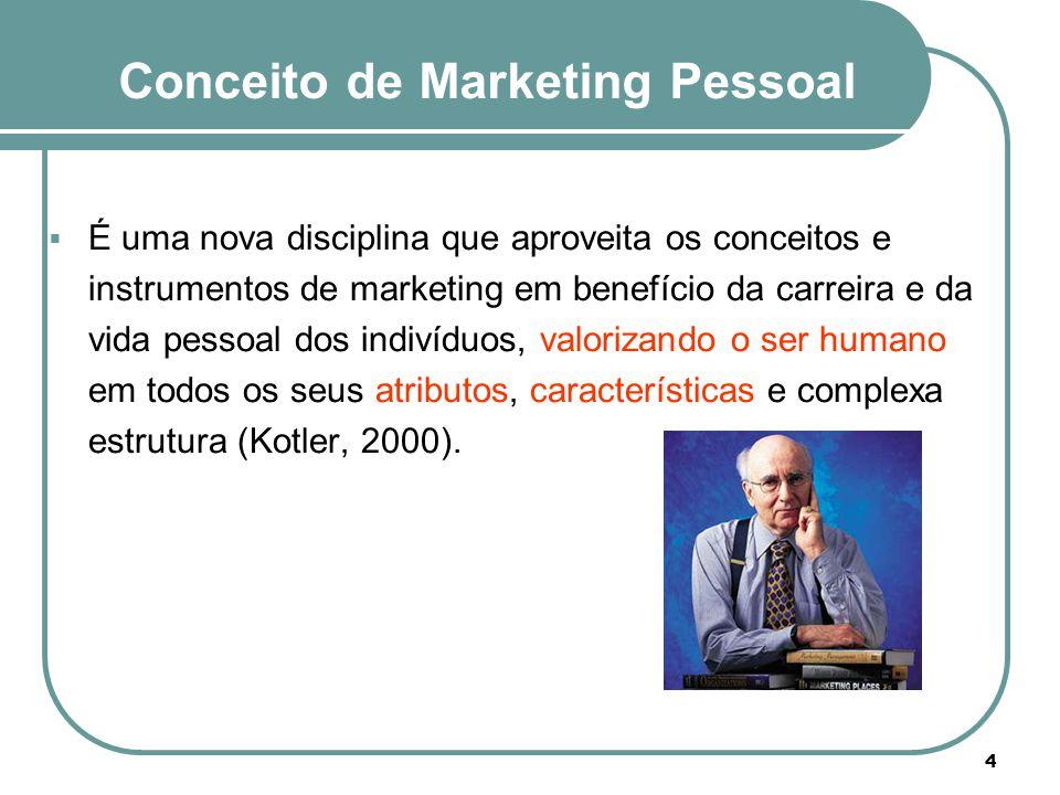 Conceito de Marketing Pessoal  É uma nova disciplina que aproveita os conceitos e instrumentos de marketing em benefício da carreira e da vida pessoa