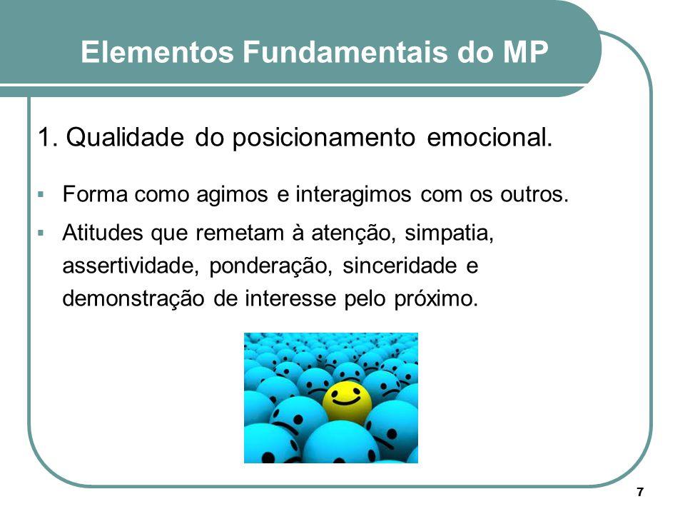 1. Qualidade do posicionamento emocional.  Forma como agimos e interagimos com os outros.  Atitudes que remetam à atenção, simpatia, assertividade,