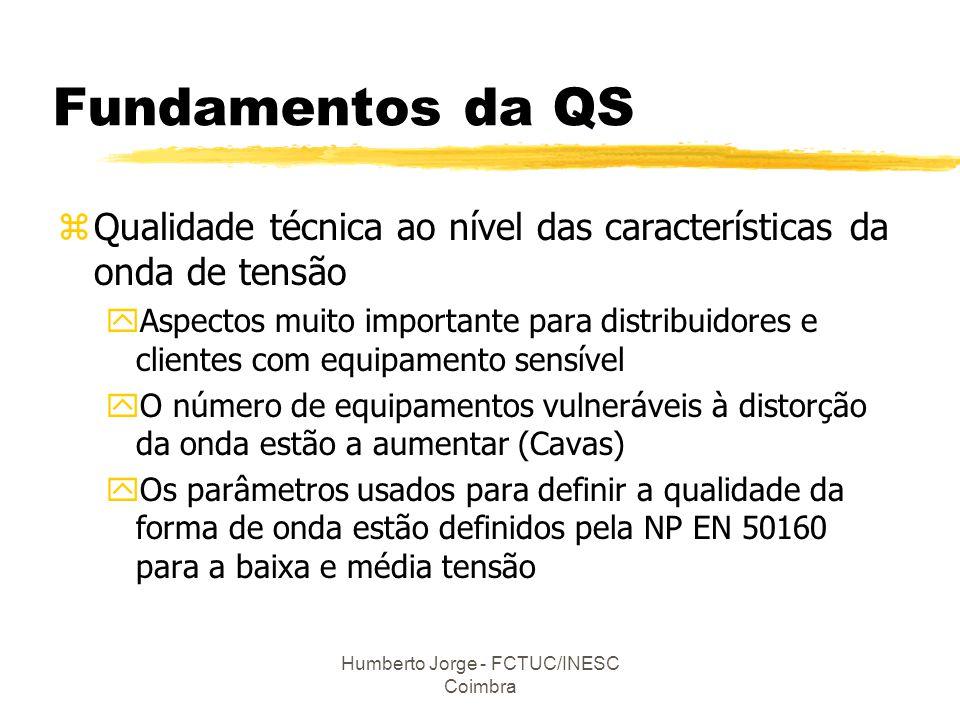 Humberto Jorge - FCTUC/INESC Coimbra Fundamentos da QS zQualidade técnica ao nível das características da onda de tensão yAspectos muito importante pa
