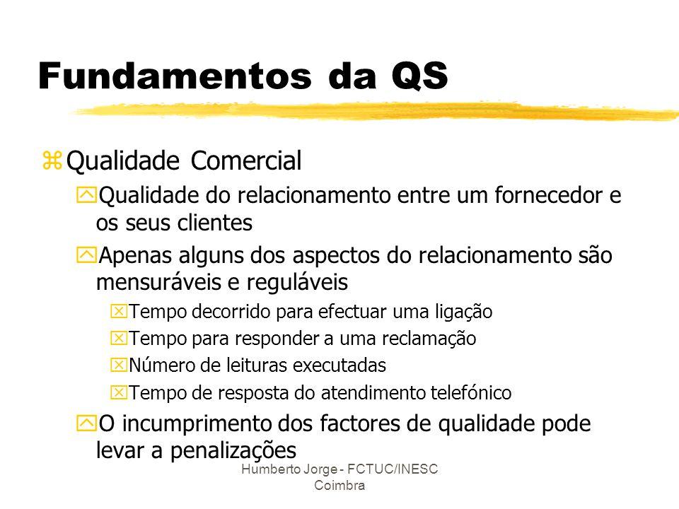 Humberto Jorge - FCTUC/INESC Coimbra Fundamentos da QS zQualidade Comercial yQualidade do relacionamento entre um fornecedor e os seus clientes yApena