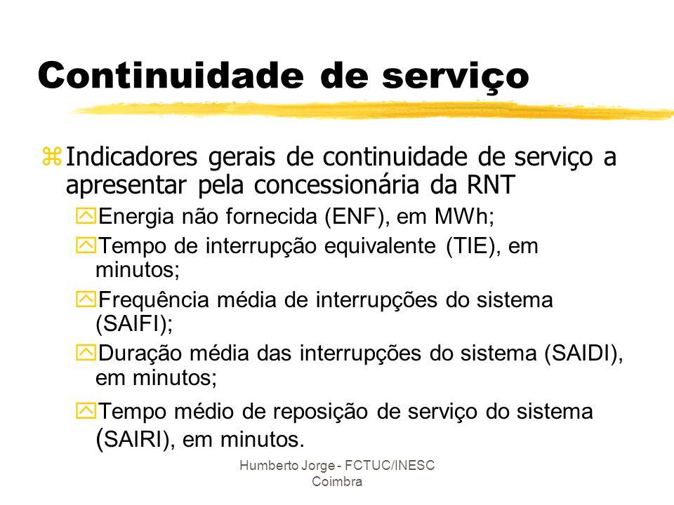 Humberto Jorge - FCTUC/INESC Coimbra Continuidade de serviço zIndicadores gerais de continuidade de serviço a apresentar pela concessionária da RNT yE