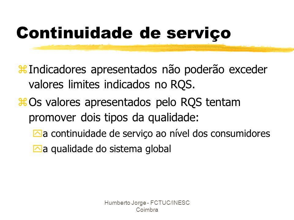 Humberto Jorge - FCTUC/INESC Coimbra Continuidade de serviço zIndicadores apresentados não poderão exceder valores limites indicados no RQS. zOs valor