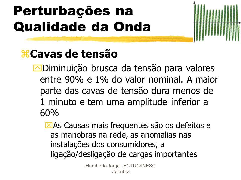 Humberto Jorge - FCTUC/INESC Coimbra zCavas de tensão yDiminuição brusca da tensão para valores entre 90% e 1% do valor nominal. A maior parte das cav