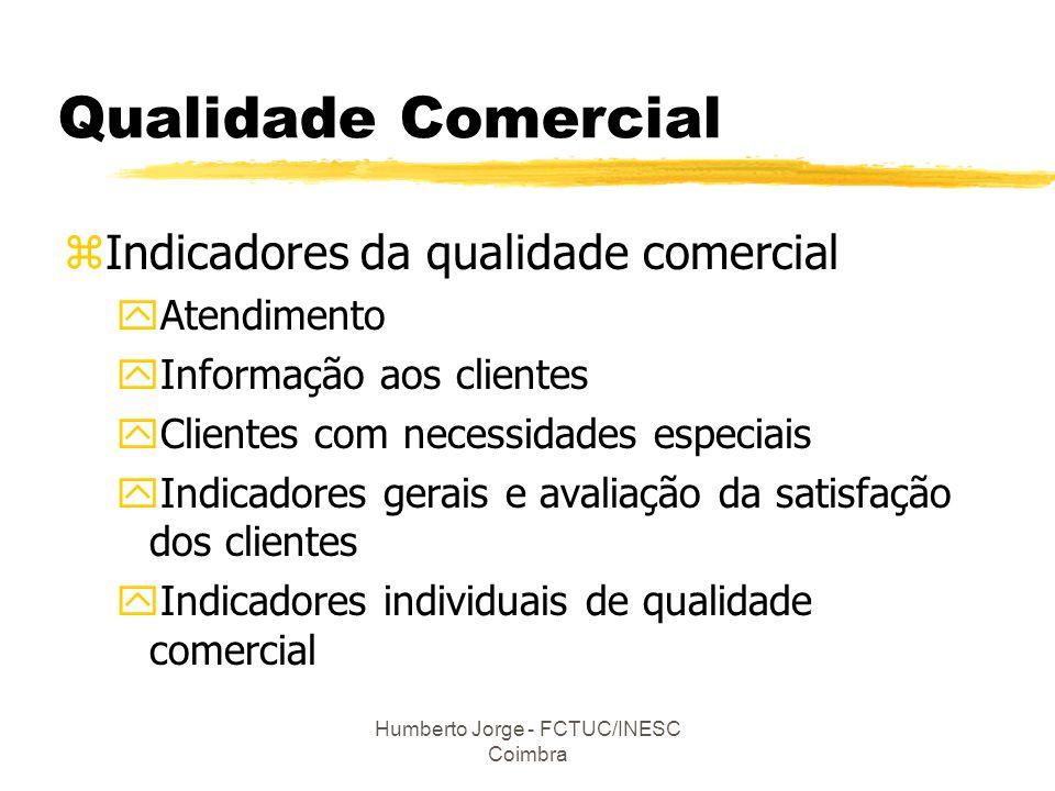 Humberto Jorge - FCTUC/INESC Coimbra Qualidade Comercial zIndicadores da qualidade comercial yAtendimento yInformação aos clientes yClientes com neces