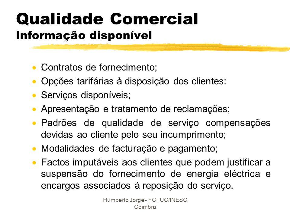 Humberto Jorge - FCTUC/INESC Coimbra Qualidade Comercial Informação disponível  Contratos de fornecimento;  Opções tarifárias à disposição dos clien