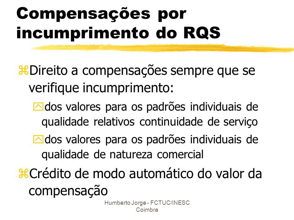 Humberto Jorge - FCTUC/INESC Coimbra Compensações por incumprimento do RQS zDireito a compensações sempre que se verifique incumprimento: ydos valores