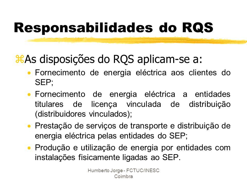 Humberto Jorge - FCTUC/INESC Coimbra Responsabilidades do RQS zAs disposições do RQS aplicam-se a:  Fornecimento de energia eléctrica aos clientes do