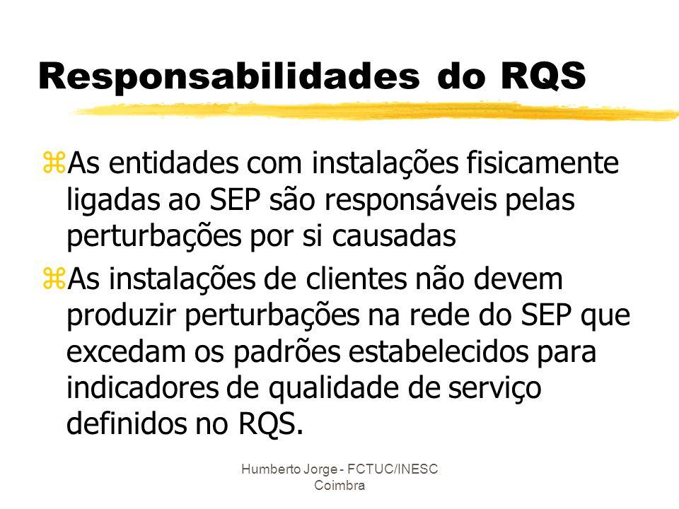 Humberto Jorge - FCTUC/INESC Coimbra Responsabilidades do RQS zAs entidades com instalações fisicamente ligadas ao SEP são responsáveis pelas perturba