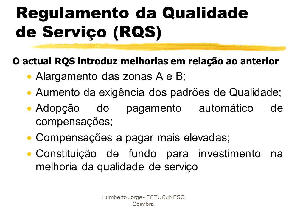 Humberto Jorge - FCTUC/INESC Coimbra Regulamento da Qualidade de Serviço (RQS) O actual RQS introduz melhorias em relação ao anterior  Alargamento da
