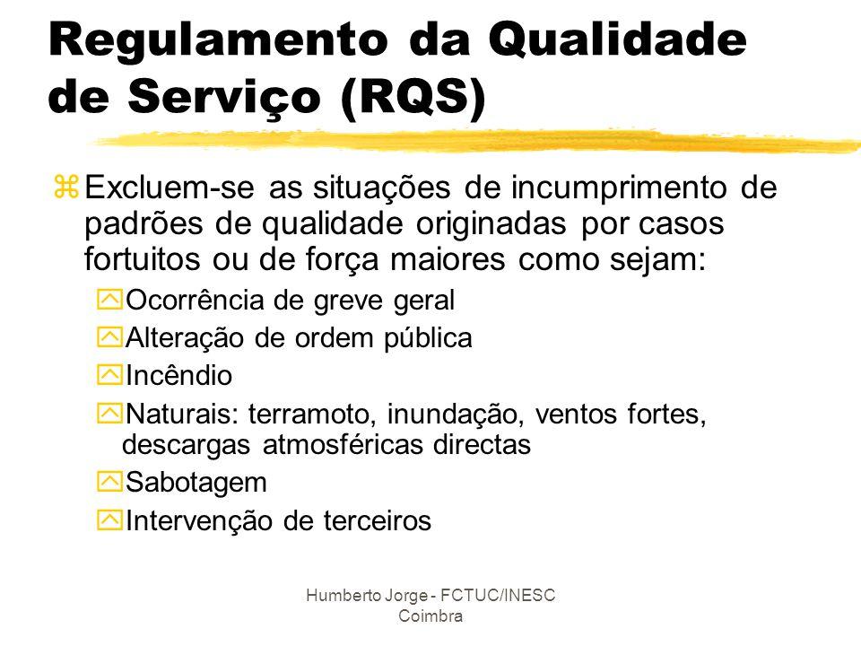 Humberto Jorge - FCTUC/INESC Coimbra Regulamento da Qualidade de Serviço (RQS) zExcluem-se as situações de incumprimento de padrões de qualidade origi