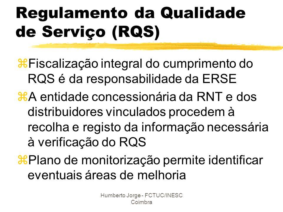 Humberto Jorge - FCTUC/INESC Coimbra Regulamento da Qualidade de Serviço (RQS) zFiscalização integral do cumprimento do RQS é da responsabilidade da E