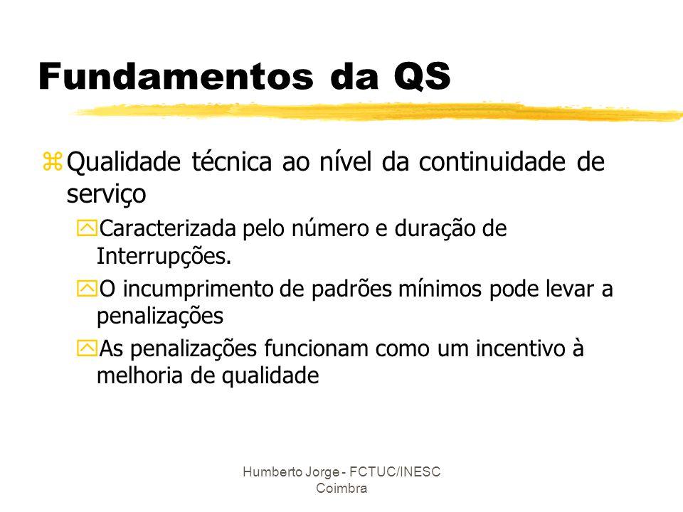 Humberto Jorge - FCTUC/INESC Coimbra Fundamentos da QS zQualidade técnica ao nível da continuidade de serviço yCaracterizada pelo número e duração de