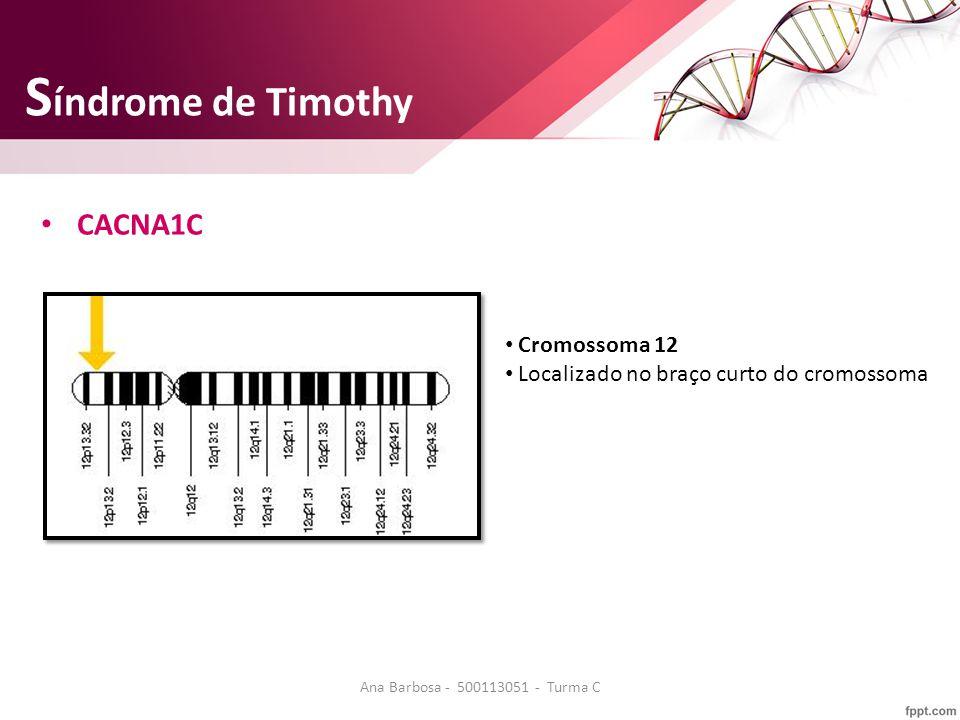 S índrome de Timothy CACNA1C Cromossoma 12 Localizado no braço curto do cromossoma Ana Barbosa - 500113051 - Turma C