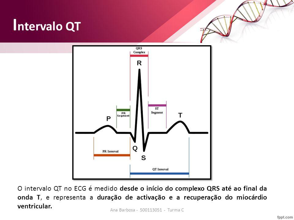 O intervalo QT no ECG é medido desde o início do complexo QRS até ao final da onda T, e representa a duração de activação e a recuperação do miocárdio ventricular.