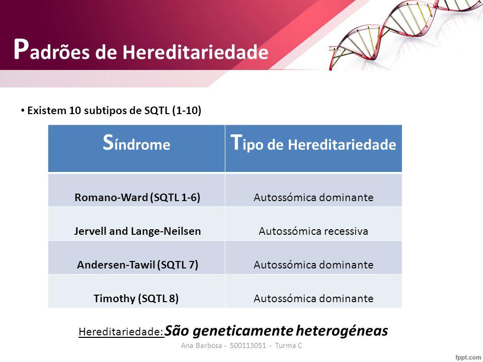 P adrões de Hereditariedade S índrome T ipo de Hereditariedade Romano-Ward (SQTL 1-6)Autossómica dominante Jervell and Lange-NeilsenAutossómica recessiva Andersen-Tawil (SQTL 7)Autossómica dominante Timothy (SQTL 8)Autossómica dominante Hereditariedade: São geneticamente heterogéneas Existem 10 subtipos de SQTL (1-10) Ana Barbosa - 500113051 - Turma C