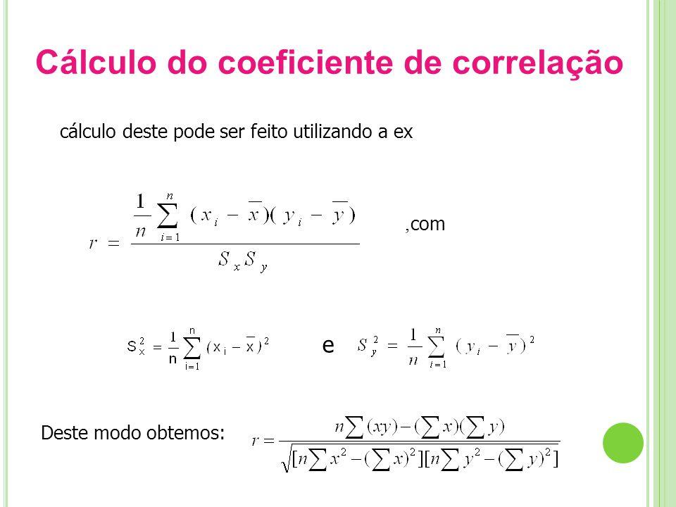 Cálculo do coeficiente de correlação O cálculo deste pode ser feito utilizando a expressão:, com Deste modo obtemos: e